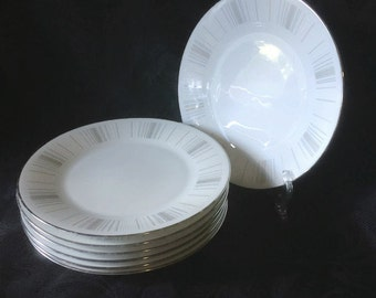 "7x Noritake ""Isabella"" 8.5inch Dinner Plates, Vintage Japanese Porcelain Dinner Set"