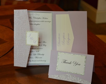 Vertical Pocket Fold Wedding Invite