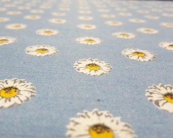 Lightweight Denim Fabric: Sky-Blue with Daisy Print - 1m piece