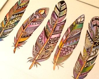 5 Feathers Zentangle Watercolour Print (8x10inch), home decor, wall art, tribal art, boho, modern feathers, A4