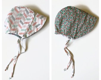 Sun Bonnet, baby bonnet, reversible bonnet, summer bonnet, baby hat