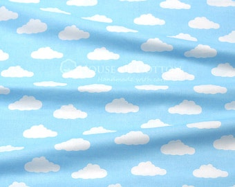 White clouds on sky cotton fabric 0,5m