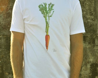 Printed carrot tee, from an original artist's painting