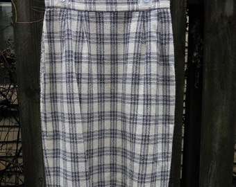 Plaid Knee Length Sheath Skirt