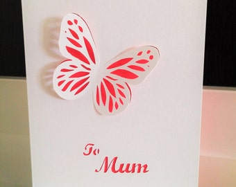 Mother's Day Card Butterfly Paper Cut Card, Handmade Greeting Card for Mum