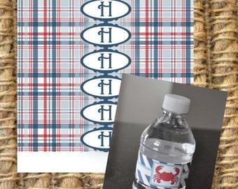 Plaid Water Bottle Labels