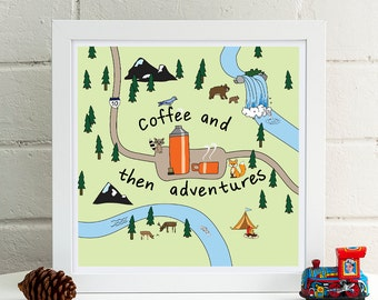 Coffee and then Adventures Print | Kitchen Decor | Illustration | Coffee Quotes | Coffee Poster | Kitchen Art | Coffee Lover Print