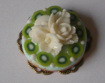 Kiwi tart - Doll House miniature polymer clay