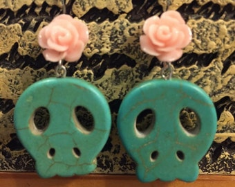 Rockabilly Day of the Dead Spring Earrings