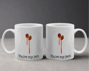 Sweet You're My Jam Strawberry Illustration Mug M1054