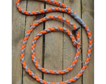 Orange and Grey Bear Grylls Inspired Braided Cord Dog Slip Lead
