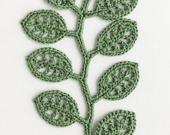 Crochet Leaf Pattern - Irish Crochet Lace Applique Wall Decor - Crochet Embellishment - DIY Home Decor - PDF instant download