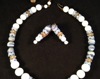 Hobé Vintage Demi-Parure of Powder Light Blue Art Glass Beads - Necklace and Earring Set 486