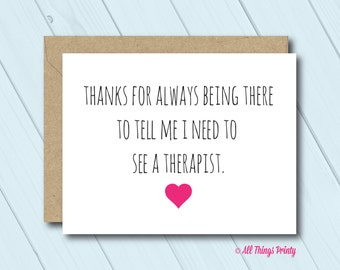 Funny Thank You Friendship Greeting Card - Folded Card and Recycled Kraft Envelope -Thanks for Always Being There - BFF Best Friend