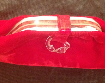 Vintage 1940's red velvet clutch with lucite clasp and opening