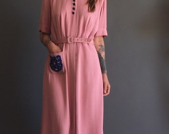 SALE: Vintage 40s Rose Tea Dress Shirtwaist  Frock S/M