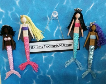 Custom Made Deluxe Mermaid Toothpick Doll, Magnet/Ornament/Hair Clip