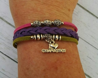 Gymnastics Charm Bracelet// Friendship Bracelet// Pink, Purple, Green// Girl's Sports Bracelet// Gymnastics Gift// Choose a Charm & Colors