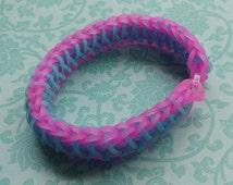Rainbow Loom bracelet, rubber band bracelet, child's gift, loom bracelets, unique bracelet, handmade bracelets, neon pink & sweets blue