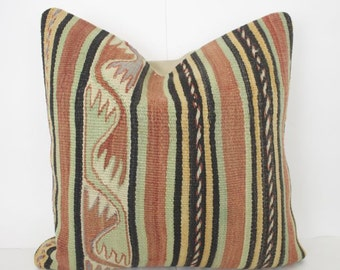 16x16 Handmade Turkish Kilim Pillow Cover Accent Pillow Kilim Floor Cushion Decorative Kilim Pillow Rustic Couch Cushion