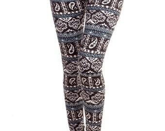 Fleece Leggings Paisley Printed Blue White and Black