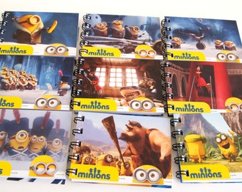 25 Minions Party Favors - Recycled Minions Notebooks - Upcycled Minions Notepad - Minions Birthday Party