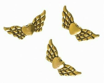 5 x wing bead metal into gold, wing size approx. 23 mm in size, ideal for Guardian Angel