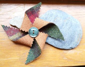 Handmade Tweed Pinwheel Brooch