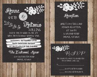 25 Chalkboard Wedding invitations RSVP and Reception cards
