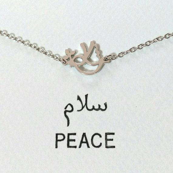 PEACE bracelet in Arabic letter rhodium plated by satokomatsu