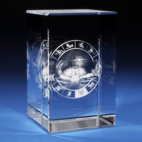 3d Laser Crystal Etched Engrave Paperweight Zodiac Cancer