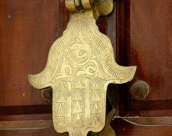 "An ANTIQUE ""KHAMSA"" Brass Door Knocker In Tangiers, Morocco. A Blank 5x7 Fine Art Photo Card, Suitable for Framing.  Copyright Protected."