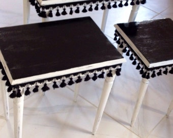 3 vintage nesting tables
