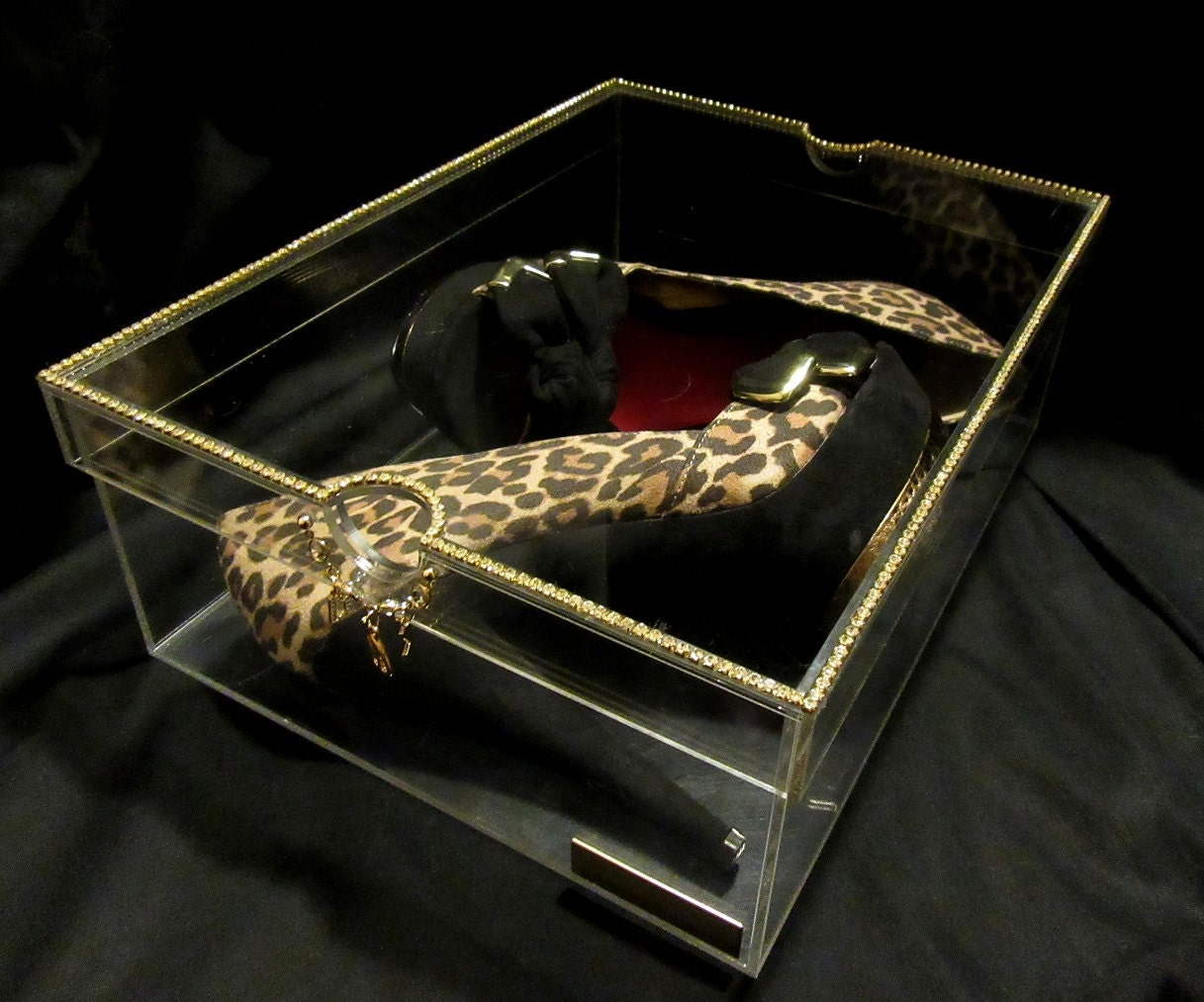 Acrylic shoe boxes : Rhinestone acrylic shoe box dazzlebox glam