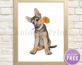 Dog Art Print Dog Nursery Decor Dog Watercolor Painting Pet Portrait Best Friend Gift Doggy Doggie Puppy German Shepherd Dog Lovers Gift Cub