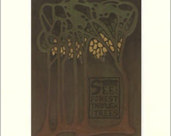 See the Forest: Matted Giclée Art Print by The Bungalow Craft by Julie Leidel (Arts & Crafts Movement)