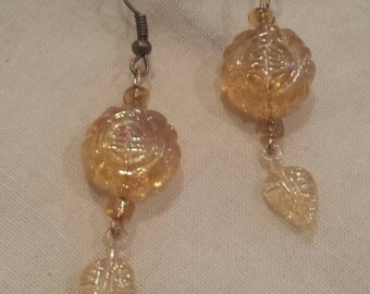 Gold glass beaded dangle earrings