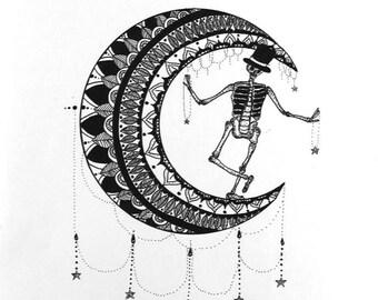 Skeleton Moon Illustration 'Dancing in the Moonlight.'