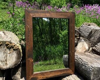 Mirror, Wood Frame Mirror, Rustic Wood Mirror, Bathroom Mirror, Wall Mirror, Vanity Mirror, Small Mirror, Large Mirror