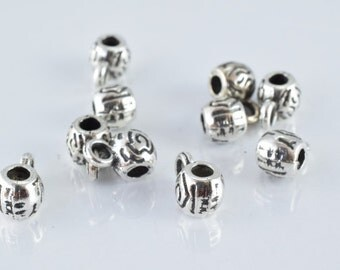 6x10mm Antique Silver Decorative Design Metal Beads, Sold by 1 pack of 20pcs, 2mm hole opening, 2mm bail opening