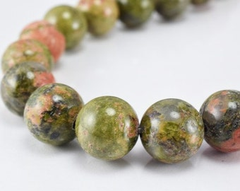 Natural Unakite Gemstone Round Beads 6mm/8mm/10mm Natural Stones Beads natural healing stone chakra stones for Jewelry Making