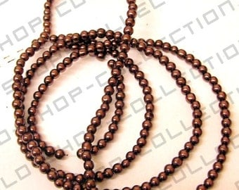 Glass Pearl Beads, Round, Brown Color, Size 8mm about 100 pcs