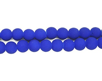 Rubberized Matted Glass Beads, 10mm 80pcs, 105.1 grams
