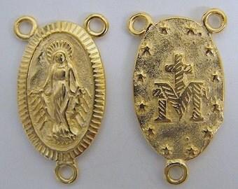Gold Filled 12mm Connector Medal of Rosary 18k Gold filled GF4001