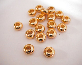 7x4mm Gold Filled Roundel Spacer Plain Bead Hole Size 3mm GF5404