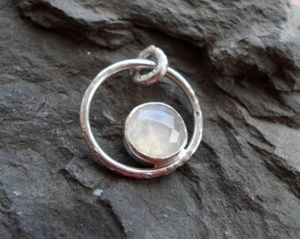 Rainbow Moonstone Pendant In Sterling Silver With Faceted Cabachon, Handmade Pendant.