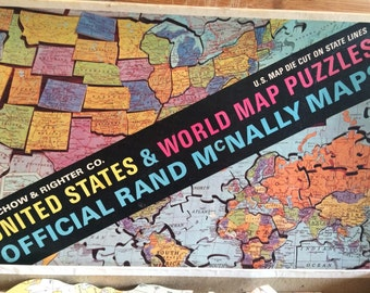 1960s Jigsaw - United States Map - world map - map puzzle - Rand McNally map - Selchow & Righter - vintage Jigsaw - U S States
