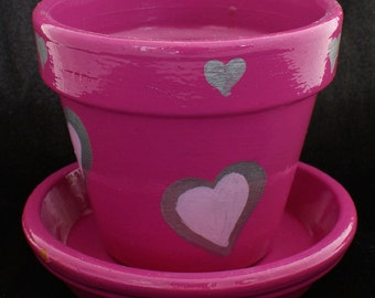 Pink Hearts with Matching Saucer
