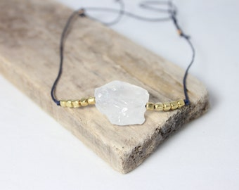 Crystal Pendant Necklace - Navy & Gold