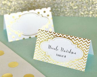 Silver/ Gold Wedding Place Cards, Wedding Reception Table Name Cards in Gold & SIlver Foil - 12 pieces